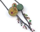 Vintage Button Necklace Steampunk Victorian Bakelite Swarovski Crystal Pearl Butterfly Charms Brass Chain OOAK