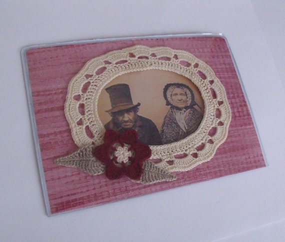crocheted photo frame