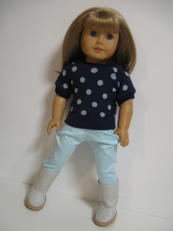 American Girl Doll Clothes -- Spring Dots - Navy