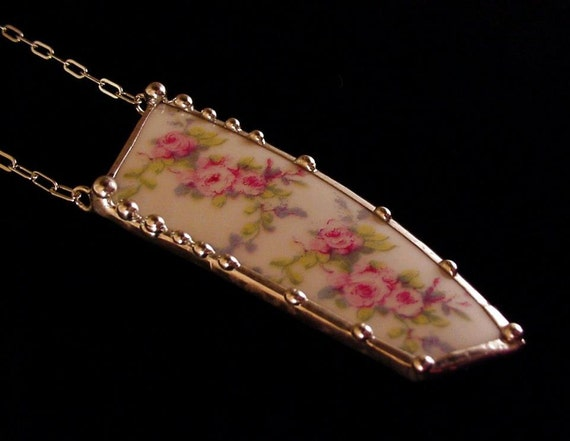 Broken china jewelry necklace pink roses made from a broken antique china plate
