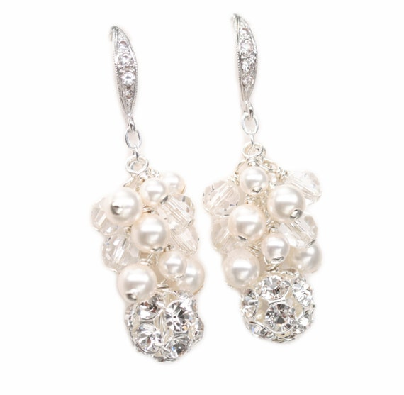 Wedding Earrings, Rhinestone Bridal Jewelry, Pearl Cluster Earrings, Dangle Earrings, Ivory Pearl or White Pearl Jewelry