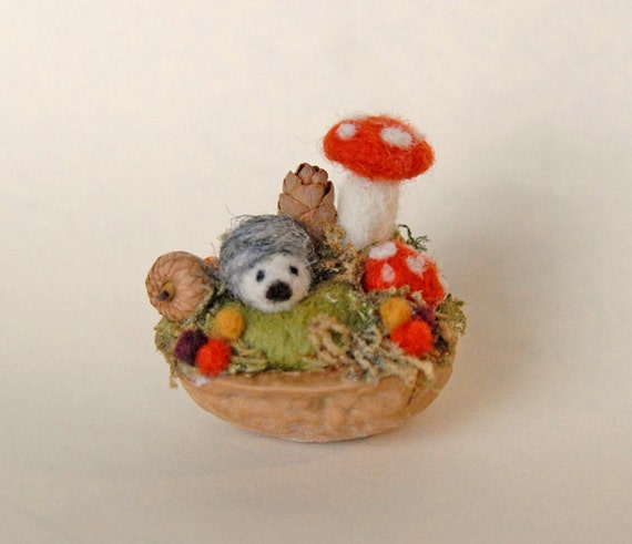 Tiny Hedgehog and Mushrooms, Needle Felted, Walnut Shell Art