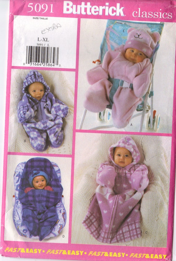 baby BUNTING infant snuggly suit hat VERY EASY Butterick 5091 pattern