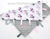 Personalized Elephant Tag Baby Blanket Ribbon Lovey - Girl Blanket Pink and Gray - littlebnursery