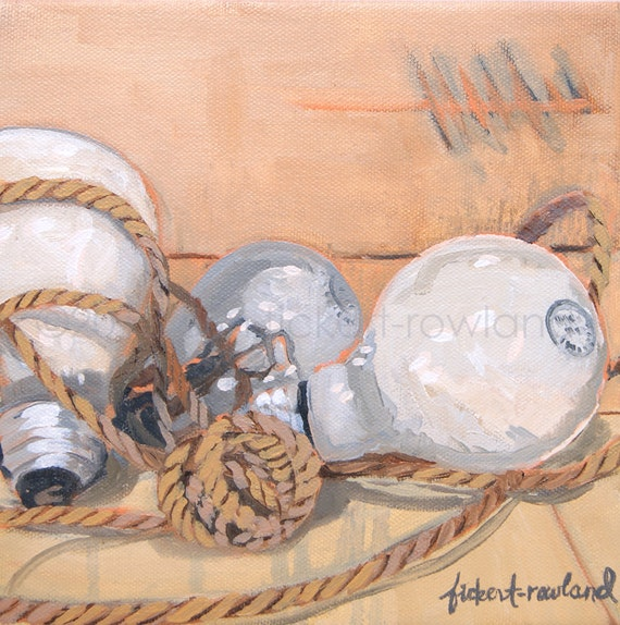 Modern Still Life  Light Bulb Painting- Wrestling with Ideas- Original Oil on Canvas by Erin Fickert-Rowland