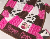 Hot Pink and White Cow Print Patchwork Baby Blanket - sewlittleones