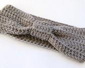 Headband Ear Warmer in Light Grey Gray Crochet