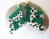 Emerald Abstract Diamond Weave Earrings - DazzleMeGems