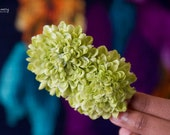 Double Green Apple Pom Pom Hair Flower