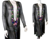 Stunning Antique Black with Colorful Glass Bead Flowers 1920s Flapper Dress - PinkyAGoGo
