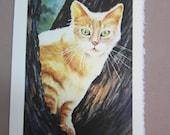 Cat Watercolor print 5 x 7 note card watercolorsNmore