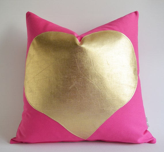 Sukan / Gold Heart Pink Cotton Canvas Pillow Cover - Pink Pillow - Cushion Cover - Decorative Pillow - Accent Pillow - Heart Pillows