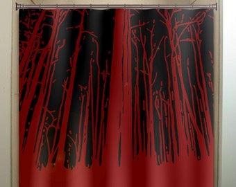 forest woodland white birch trees shower curtain by TablishedWorks