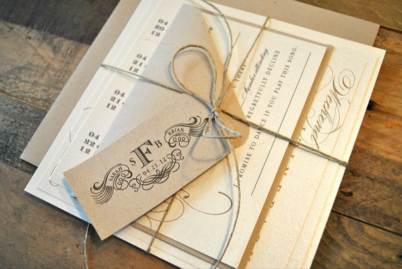 Miranda II Vintage Luggage Tag Look Wedding Invitation Suite with Twine Tie and Tag - Kraft, Ivory, Tan, Charcoal (colors/text customizable)