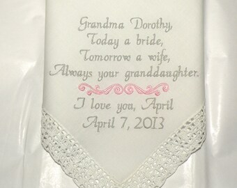 Grandmother Gift personalized Embroidered Wedding Hanky Granddaughter by Canyon Embroidery