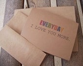I Love You More - Valentine Card, Anniversary Card, Kraft Love Greeting Card, Valentine's Day Card - twin2kim