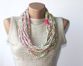 Crochet summer scarf - multicolor vegan scarf - neon pink yellow mint green infinity scarfs - crochet necklace - violasboutique