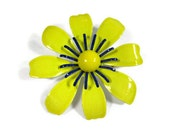 Bright Yellow with Blue Enameled Flower Brooch - VintageGypsies