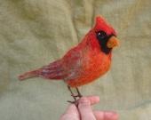 Needle felted Cardinal, life sized poseable bird