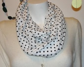 Knit Infinity Scarf  Black Polka Dot