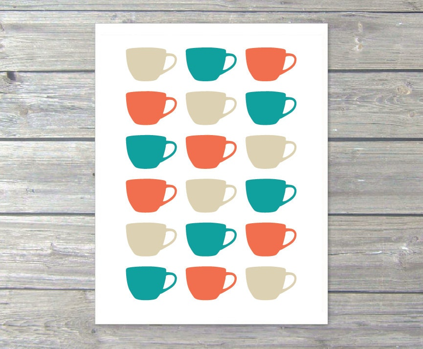 Tea Cups Digital Print Kitchen Wall Art Teal by AldariArt
