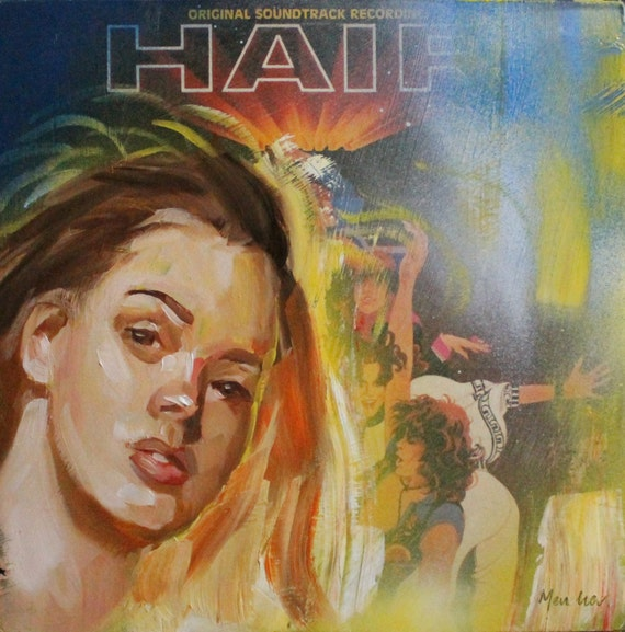 "Hair by Kenney Mencher oil and spray paint t on acrylic resin coated album cover 12""x12"""