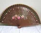 Regency/Victorian Style Fan. Wood. Brown with pink flowers. READY TO SHIP - RegencyRegalia