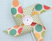Set of 12 - Chevron Dot -  Personalized Pinwheels - polkadotpinwheels