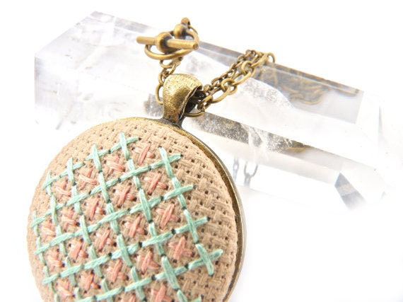 Cross Stitch Embroidery Necklace with Pastel Honeycomb Design Pendant in Mint and Peach on Antique Brass Double Chain