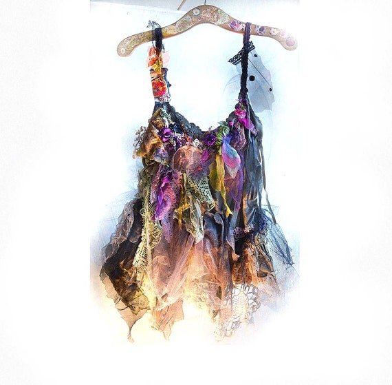 Beautiful Rich Hot Summer Evening Party Dress/Tunic Art to Wear CINDERELLA  GYPSY  Hippi Gothic Antique Tribal Boho Ruffle