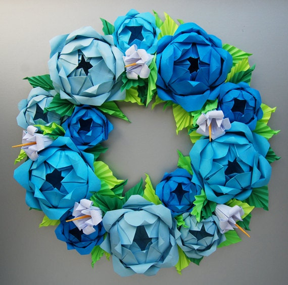 Blue Rose Origami Paper Wreath With Green Leaves