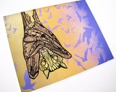 Bat Art Print -Zentangle - Archival - 8 x 10 - Wall Art - Orange - Purple - Acrylic - MayhemHere