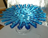 Green or Blue Starburst Fused Glass Serving Platter