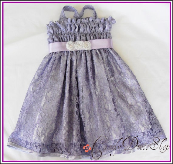 Purple (Lilac) Flower Girl Dress - Lace Dress - Party dress for little girls- lined - Summer dress  - 12m to 6Y