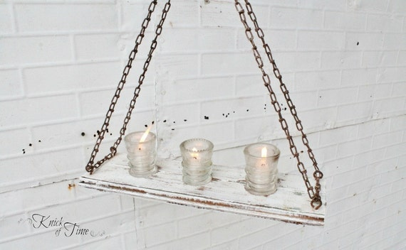 Antique Glass Insulators & Salvaged Antique Wood - Refectory Hanging Candelabra