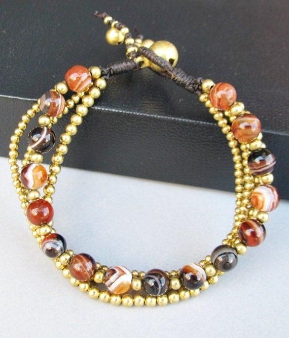6 mm Round Agate Stone Multi Line Bracelet