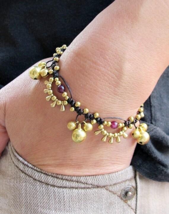 Bohemian Little Brass Water drop Garnet Chic Bracelet