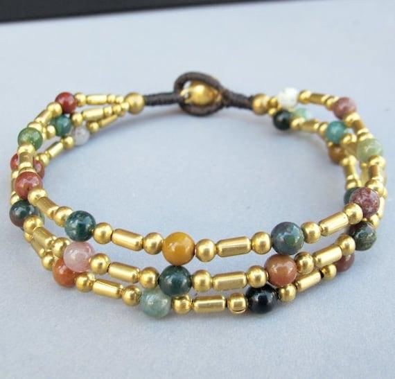 Boho Multi Strand Bracelet with Brass Bead and Moss Agate Bead