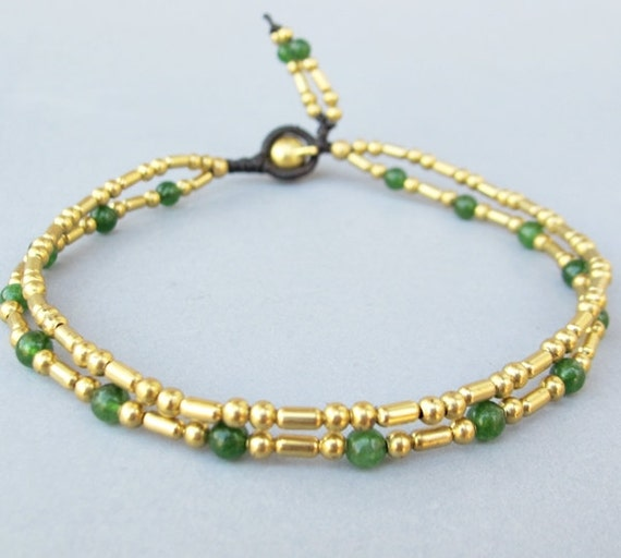 Double Strand Ankle Bracelet with Fancy Brass Bead and Aventurine Bead