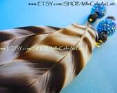 CLEARANCE Rhinestone Crystal Beads, Black and White Chinchilla Feather Earrings- SULETU