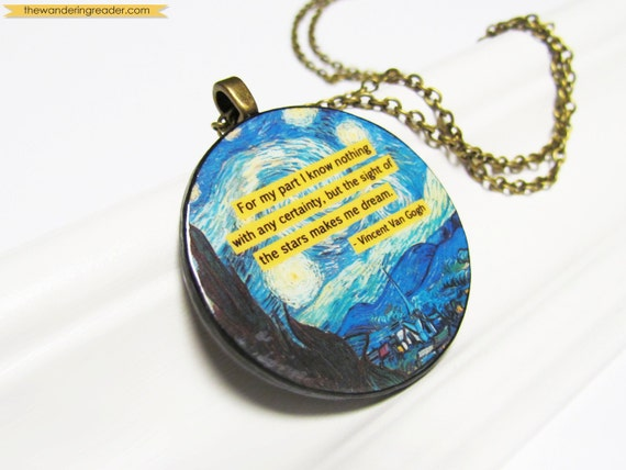 "Inspirational Starry Night Van Gogh Art Pendant Quote Necklace with Inspiring ""sight of the stars makes me dream"" Quotation"