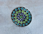 Silver Huichol Ring with blue, turquoise and green enamel
