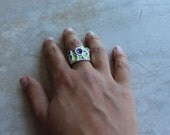 Silver Pan ring, transparent lime and purple enamel