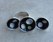 Silver pan ring, black and gray enamel