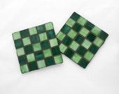 Coasters / Trivet set of 2, glass mosaic design, green shades
