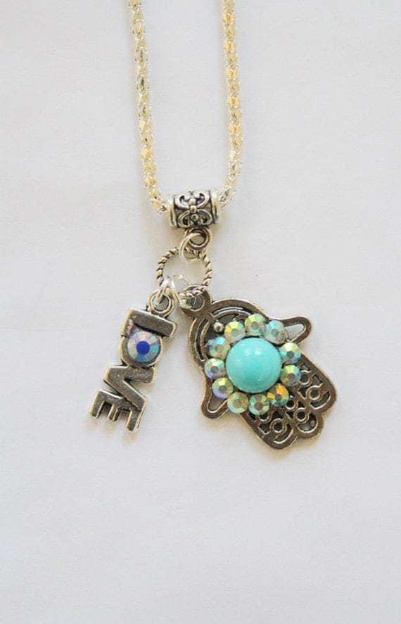 Hamsa necklace, Charm necklace, evil eye jewelry, silver hamsa charm, silver necklace, silver hamsa