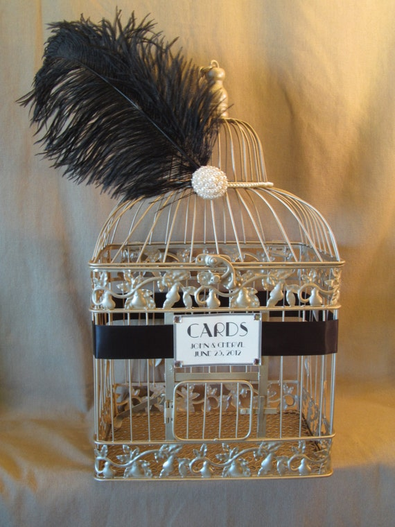 Hollywood Glam Wedding Card Box With Pearls and Ostrich Feather / Champagne Birdcage Card Holder / Vintage Inspired / Art Deco