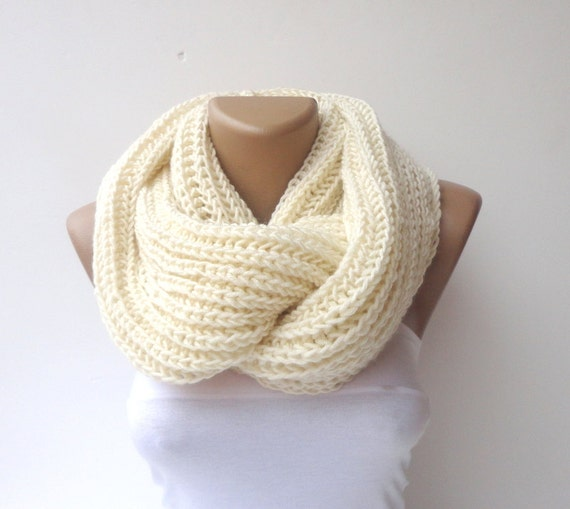 scarf Infinity hand knitted women scarf men ULTRA SOFT by seno Hand Knitted Men's Scarves