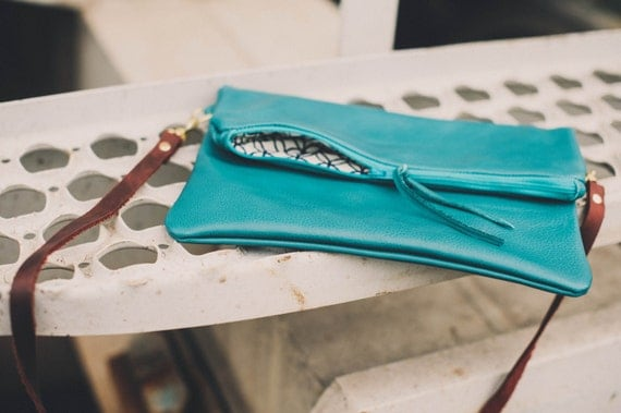 Foldover clutch with removable strap in aqua blue green leather