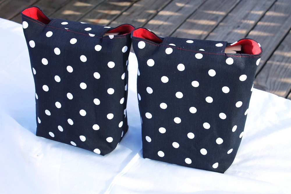 polka dot printed gift bags Valentine's Day women ladies crimson red